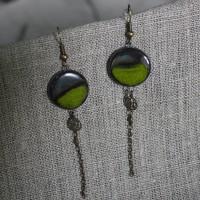 Boucles d'oreilles chaînette vertes