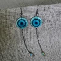 Boucles d'oreilles chaînette turquoise