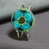 Bracelet céramique fleur bleue
