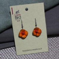 Boucles d'oreilles coquelicot orange
